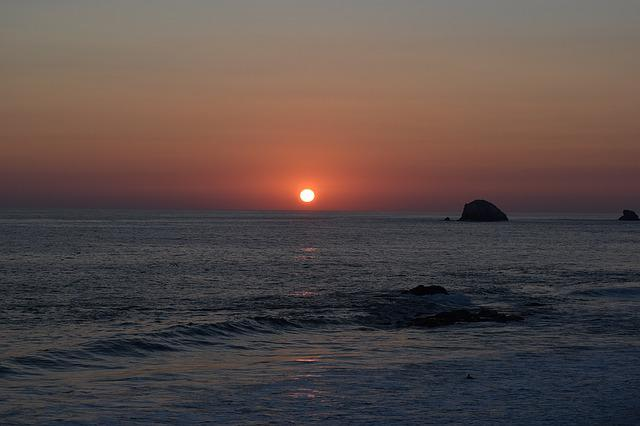 Sunset, Beach, Sun, Mexico, Zipolite, Oaxaca