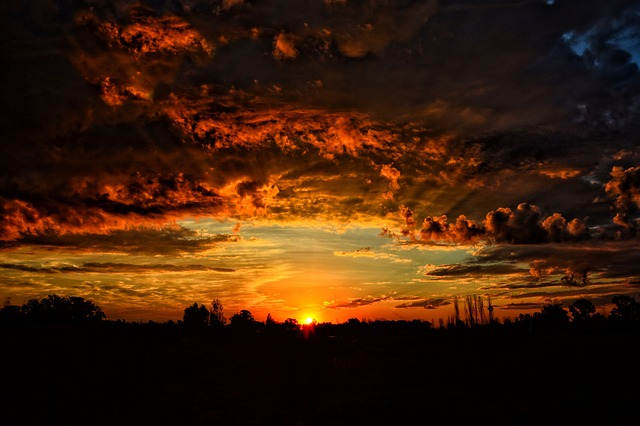 Landscape, Sunset, Sun, Sky, Clouds, Orange Sky, Depth