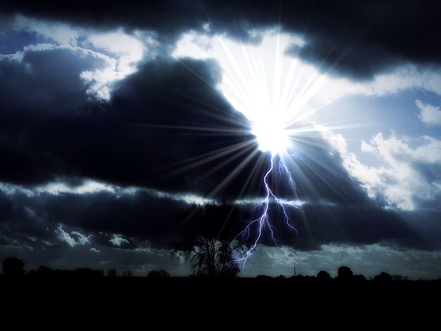 Sky, Thunderstorm, Landscape, Flash, Sun, Forward, Tree