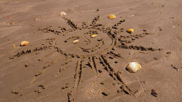 Sun, Graphics, Sand, Shells, Beach