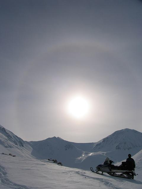 Mountains, Volcano, Halo, Sun, Snowmobile, Winter