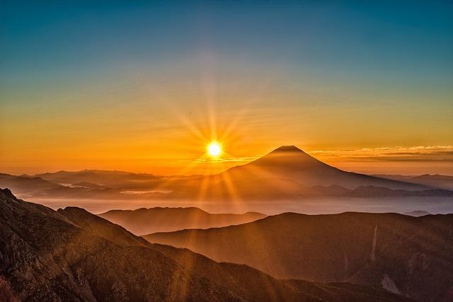 Sun, Mt Fuji, Japan, Landscape