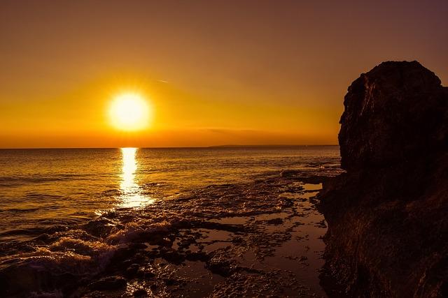 Sunset, Sun, Dusk, Sea, Rock, Rocky Coast, Sky, Nature