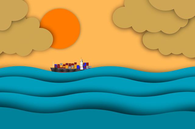 Sunrise, Ocean, Ship, Sun, Sunset, Sunlight, Cargo Ship