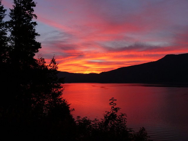 Glowing, Sun Rise, Canim Lake, British Columbia, Canada