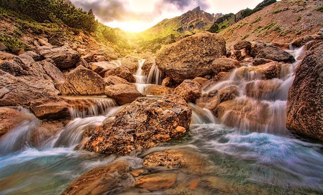 Waters, Nature, River, Waterfall, Rock, Alpine, Sun