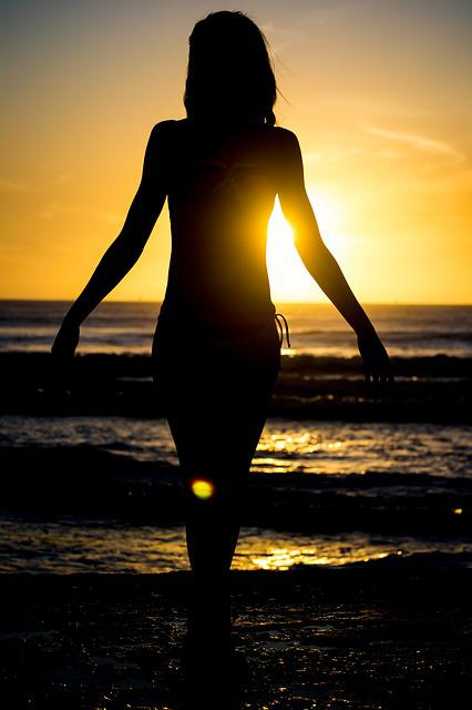 Silhouette, Beach, Sun, Sunset, Summer, Sea, Young