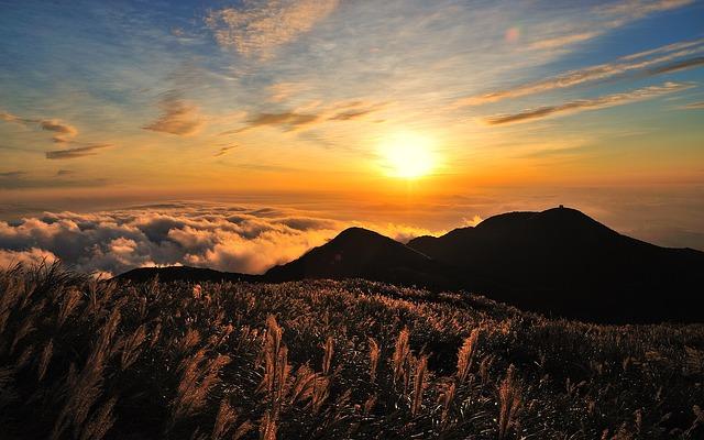 Sky, Mountain, Clouds, Sun, Sunset, Hills, Nature