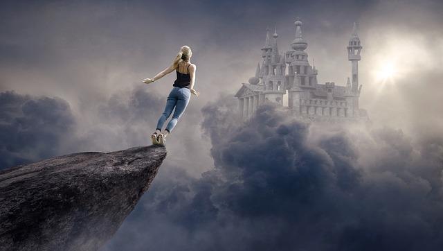 Fantasy, Clouds, Woman, Castle, Sun, Sky, Atmospheric
