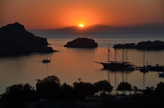 Rhodes, Lindos, Sun, Morning, Sailboat, Sea, Summer