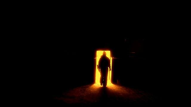 Human Silhouette, The Door To Hell, Gates, Sun