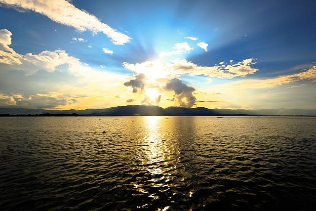River, Sun, Sky, Umbrella, Last Light, Summer, The Sun