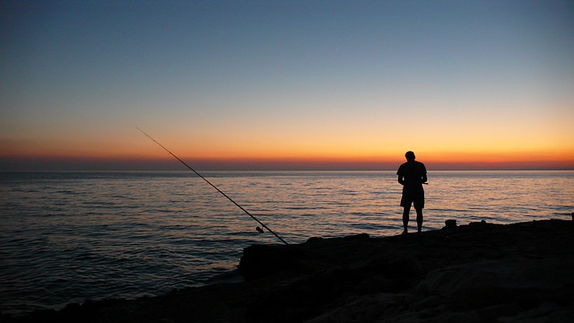 Sunset, Sea, Angler, Sun, Abendstimmung, Water, Red