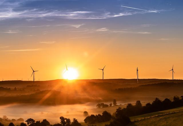 Sunrise, Nature Guards, Fog, Sun, Wind Turbines