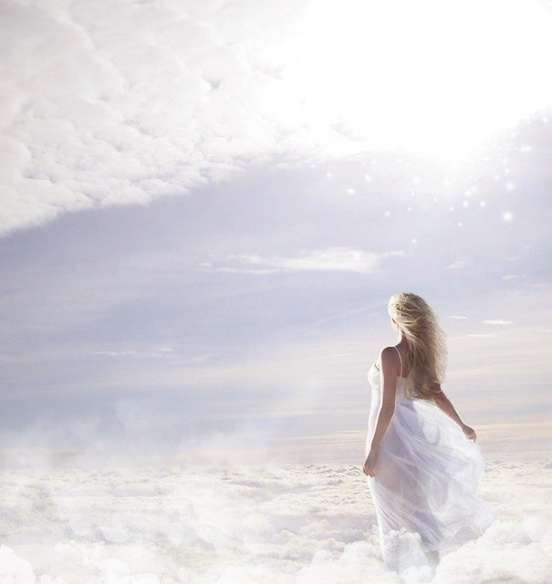 Woman, Clouds, Sky, Sun, Star, Beautiful, Young Woman