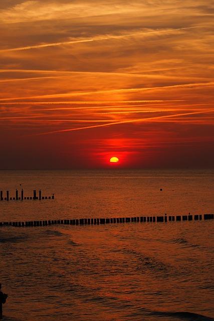 Sunset, Dawn, Sun, Dusk, Waters, Baltic Sea, Zingst
