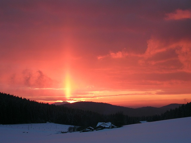 Sunset, Landscapes, Sky, Red, At Dusk, Sunbeam
