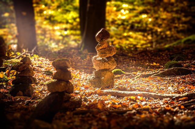 Forest, Cairn, Sunbeam, Stone Tower, Nature, Landscape