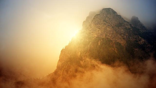 Landscape, Nature, Fog, Dawn, Mountain, Sun, Sunbeam