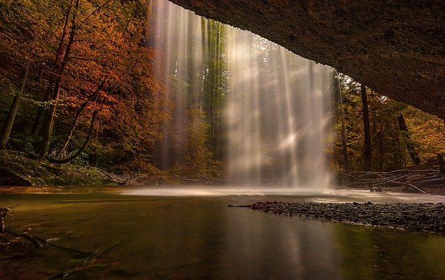 Nature, Autumn, Waterfall, Sunbeam, Forest, Landscape