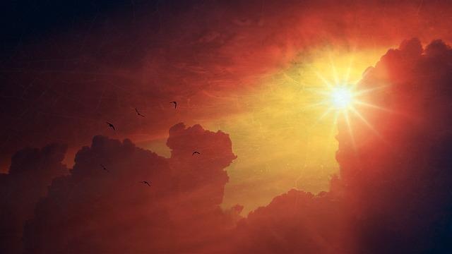 Sun, Sky, Nature, Thunderstorm, Rays, Sunbeam, Clouds