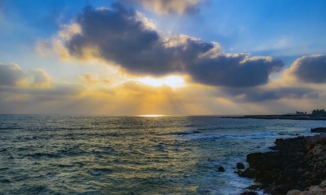 Sea, Sky, Clouds, Horizon, Nature, Sunlight, Sunbeam