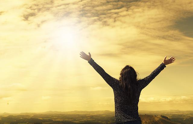 Woman, Sky, Sunlight, Arms, Open Arms, Sunbeams