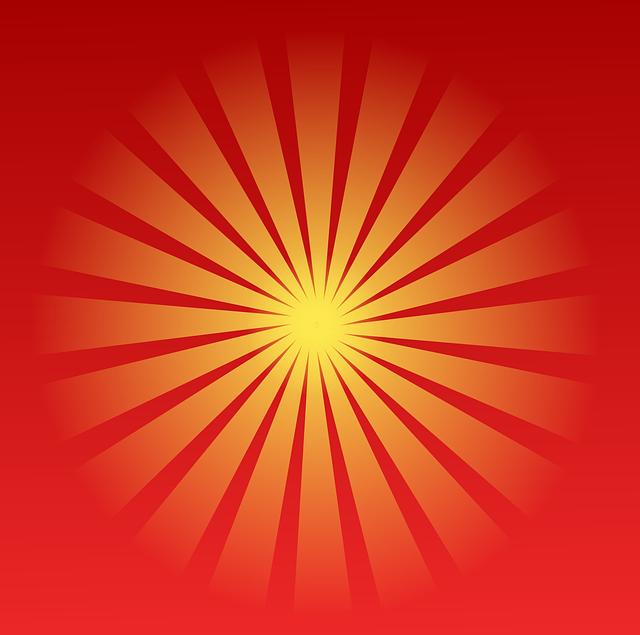 Sunburst, Sunbeams, Red, Stripes, Sun, Sunset, Sunshine