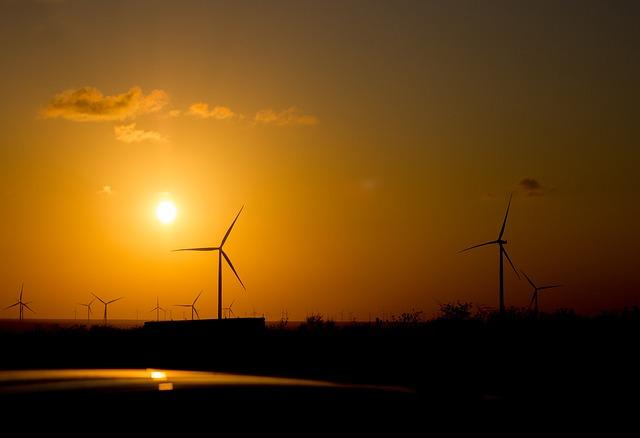 Sundown, Energy, Sun, Wind, Turbine, Environmental