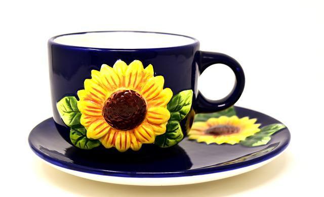 Coffee Cup, Sunflower, Coffee, Saucer, Cup, Drink