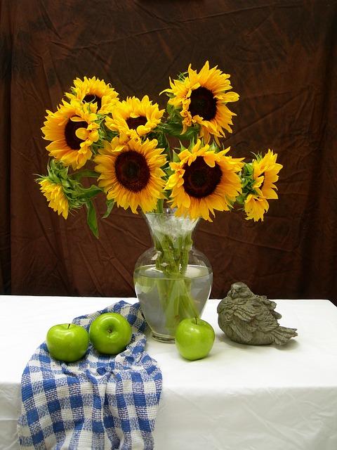Sunflowers, Apples, Still Life, Fruit, Life, Flower