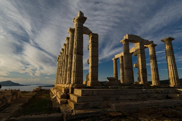Temple, Ancient, Sunio, Neptune, Greek, Attica, Cape