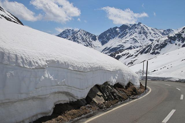 Highway, Tops, Sunny, Snowdrifts, The Alps, Landscape