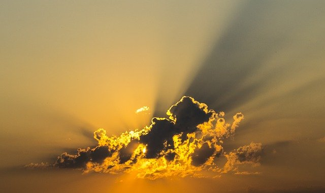 Cloud, Sky, Yellow, Sunshine, Sunset, Heaven, Sunrays