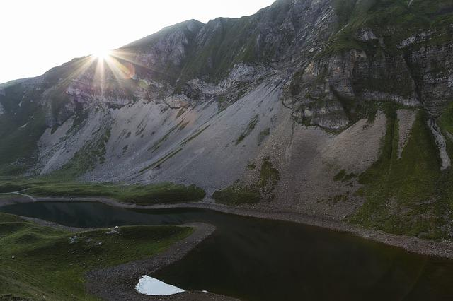 Sunrise, Eisee, Red Horn, Bergsee, Morgenstimmung
