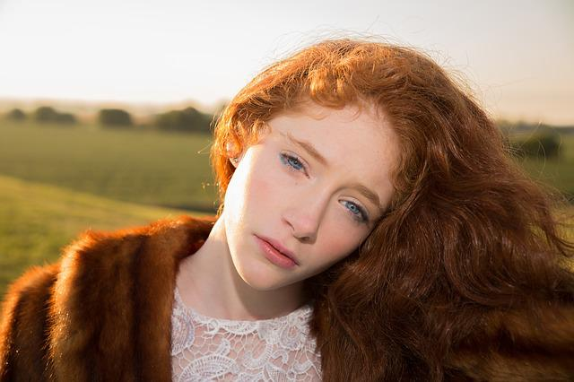 Girl, Red Hair, Blue Eyes, Sunrise, Beauty, Female