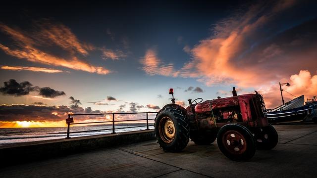 Tractor, Fordson, Sunrise, Golden Hour, Autumn, Sun