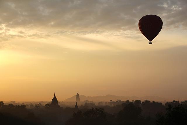 Bagan, Temple, Hot Air Balloon, Sunset, Sunrise, Fog