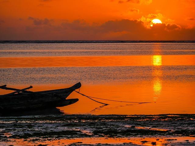Sunrise, Fishing Boat, Indian Ocean, Zansibar, Africa