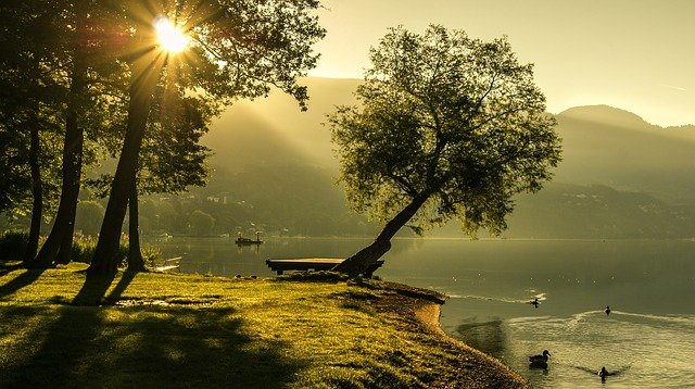 Landscape, Summer, Sunrise, Lighting, Sun, Nature, Lake