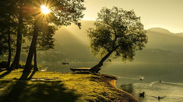 Landscape, Summer, Sunrise, Lighting, Sun, Nature, Lake