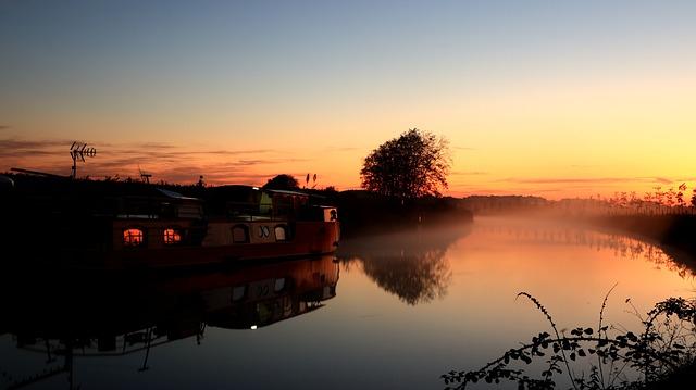Sunrise, Canal Du Midi, Mist, Sky, Water, Reflection