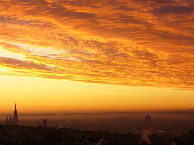 Sunrise, Morgenrot, Sun, City