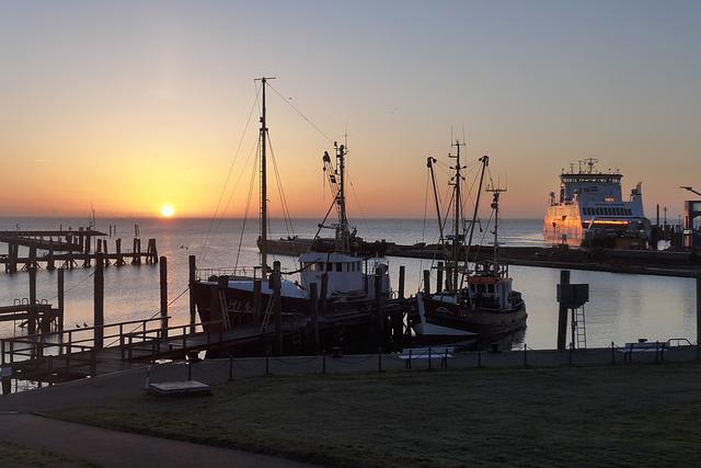 Sun, Sunrise, Port, Ship, Ferry, Sea, Water, Föhr