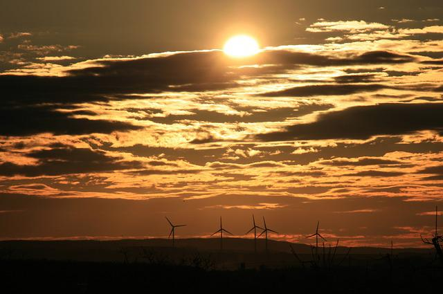 Sunrise, Sun, Skies, Windräder, Wind Power Plants