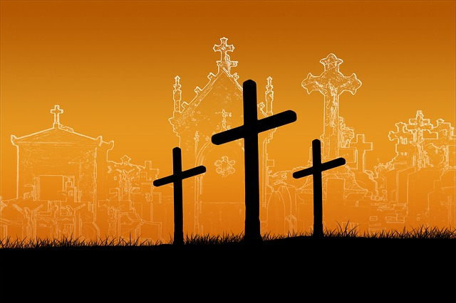 Easter, Cross, Sunset, Sunrise, Cemetery, Grave Stones