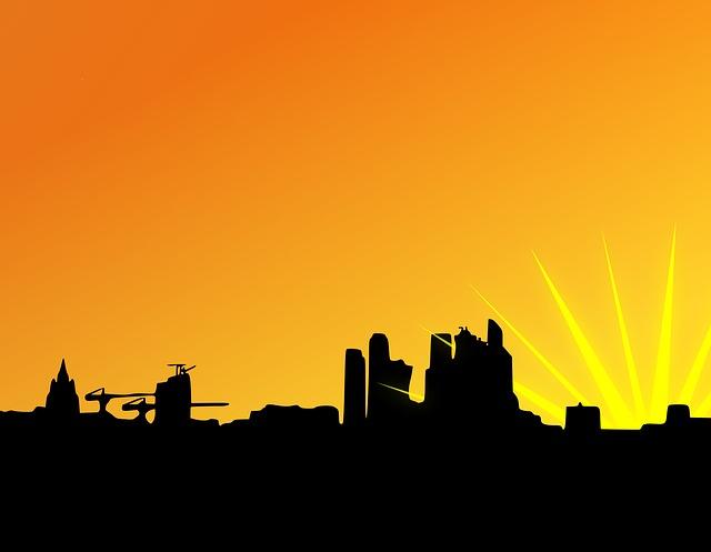 City, Sunset, Silhouette, Urban, Horizon, Sunrise