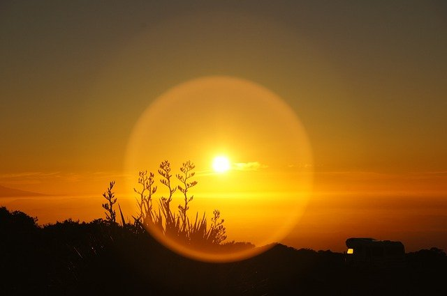 Sunrise, Vacations, Camping, Mobile Home, Sun, Grass