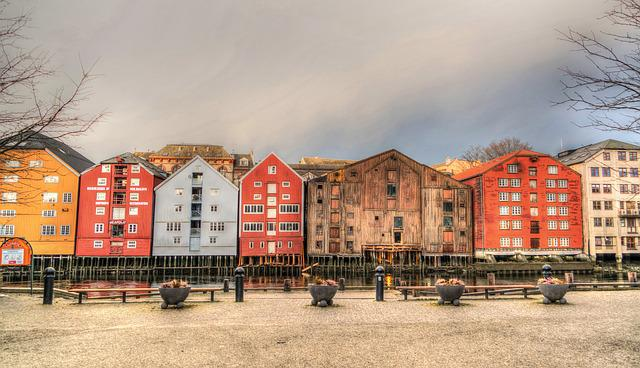 Norway, Trondheim, Old Town, Sunrise, Water