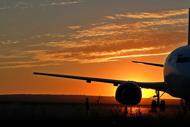 Airplane, Aircraft, Airport, Sunrise, Sky, Wing
